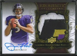 08 Joe Flacco Exquisite Patch/AUTO RC /99 4 Clr Color