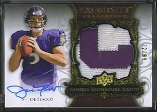 Joe Flacco Upper Deck Exquisite Football Rookie Patch Auto /99