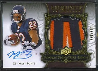 Matt Forte Upper Deck UD Exquisite Football Rookie RC Patch Auto