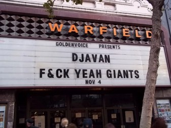SF Giants F*CK Yeah Sign on the Warfield