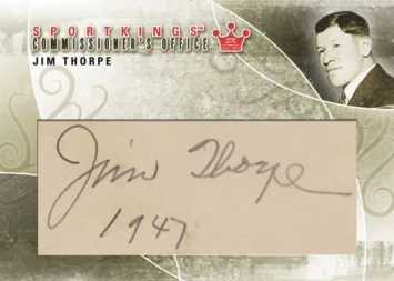 2010 Sportkinga Commissioner's Office Jim Thorpe Cut Autograph Card