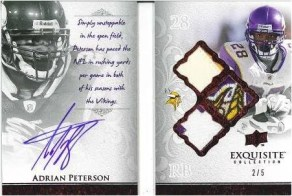 2009 Exquisite Football Adrian Peterson Book Card