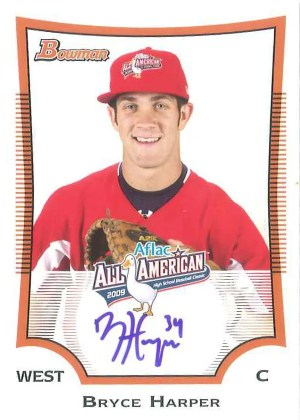 2010 Bowman Draft Picks and Prospects 2009 AFLAC Bryce Harper Autograph Card