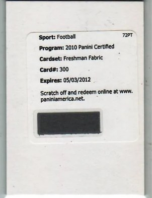 2010 Panini Certified Footbal Redemption RC Rolondo McClain