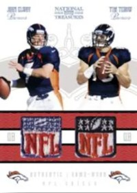 2010 Panini National Treasures Tim Tebow John Elway Dual NFL Patch Card