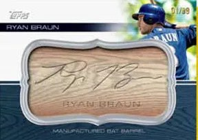 2010 Topps Update Series Ryan Braun Bat Barrel Card