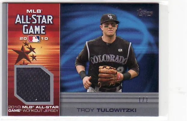 2010 Topps Update All-Star Troy Tulowitzki 1/1 Jersey Card