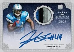 2010 Topps Five Star Jahvid Best Futures Autograph Patch Rainbow Parallel #/25