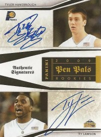 09/10 Panini National Treasures Pen Pals Tyler Hansbrough Ty Lawson Dual Autograph