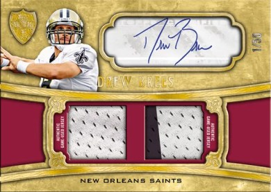 2010 Topps Supreme Drew Brees Autograph Dual Relic Card #/50