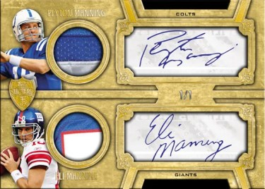 2010 Topps Supreme Peyton Manning Eli Manning Dual Autograph Patch Relic Parallel #1/1