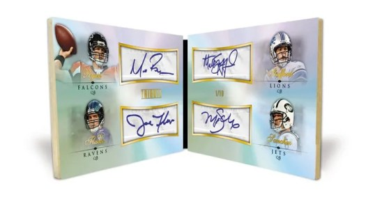 2010 Topps Tribute Football Matt Ryan Joe Flacco Mark Sanchez Matthew Stafford Quad Autograph Book Card