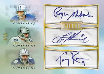 2010 Topps Tribute Roger Staubach Troy Aikman Tony Romo Triple Autograph Card