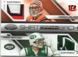 2010 Panini Certified Shirt off my Back Carson Palmer/Mark Sanchez