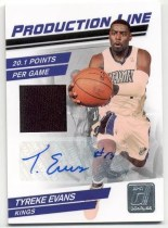 2010/11 Donruss Production Line Tyreke Evans Autograph Jersey Insert Card