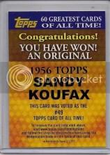 2011 Topps Sandy Koufax Buy Back 1956 Topps Card