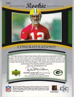 2005 Upper Deck Exquisite Aaron Rodgers Rookie Card Back