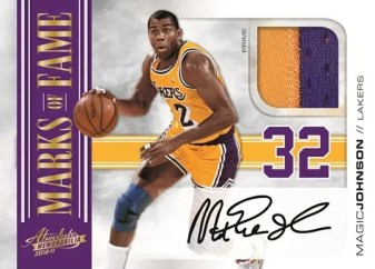 2010/11 Panini Absolute Memorabilia Magic Johnson Marks of Fame Autograph Jersey Card