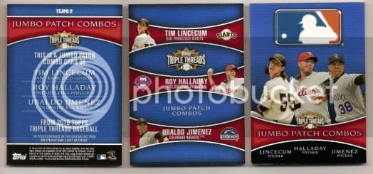 2010 Topps Triple Threads Lincecum/Halladay/Jimenez Book /1 Back