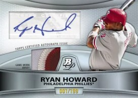 2010 Bowman Platinum Baseball Ryan Howard Relic Auto