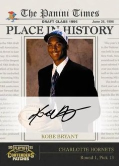 2010/11 Panini Conteders Patches Place In History Kobe Bryant Autograph Card