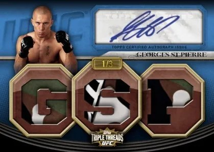 2010 Topps UFC Knockout Georges St Pierre Triple Threads Autograph Relic Card