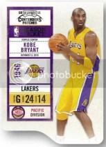2010/11 Panini Contenders Patches Season Ticket Kobe Bryant Card
