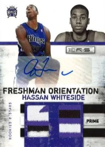 2010/11 Panini Rookies and Stars Freshman Orientation Hassan Whiteside Autograph Prime Material Card