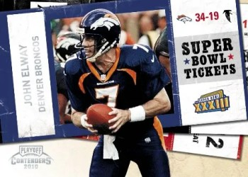 2010 Panini Contenders John Elway Super Bowl Ticket Insert Card