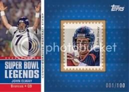 2011 Topps John Elway Super Bowl Legends Portrait Stamp Card