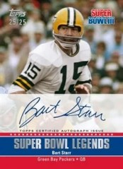 2011 Topps Super Bowl Legends Autograph Bart Star Card