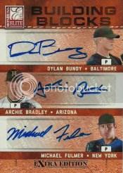 2011 Donruss Elite Triple Autograph Bundy/Bradley/Fulmer