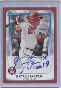 2011 Bowman Red Bryce Harper Autograph 3/5
