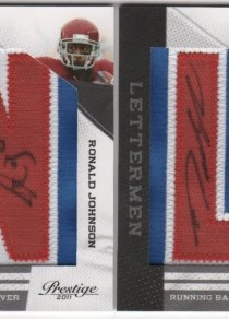 2011 Ronald Johnson Prestige Letterman Autograph RC Patch