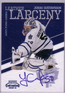 2010/11 Playoff Contenders Hockey Leather Larceny Jonas Gustavsson Autograph Card #8