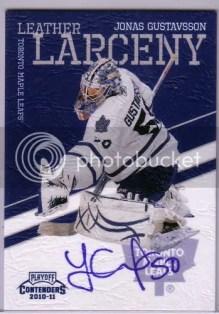 2010/11 Playoff Contenders Hockey Leather Larceny Jonas Gustavsson Autograph Card #8
