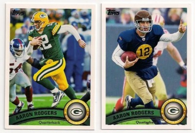 2011 Topps Football #1 Aaron Rodgers Photo Variation Throwback Jersey Card