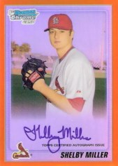2010 Bowman Chrome Shelby Miller Orange Refractor Autograph #1/25