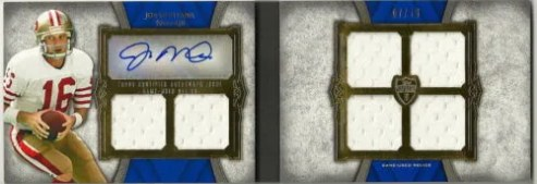 2011 Topps Supreme Six Piece Jersey Relic Joe Montana Autograph Book Card