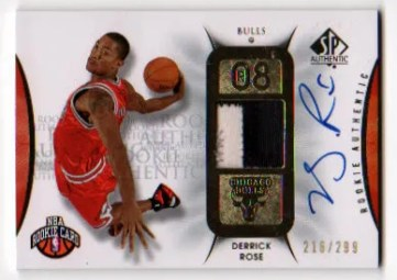 2008-09 Upper Deck SP Authentic Derrick Rose Jersey Autograph RC #/299