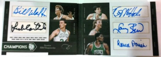 2010-11 Panini Black Box Elite 4 Bill Walton - Kevin McHale - Larry Bird - Rick Carlisle - Robert Parrish #/25 Auto