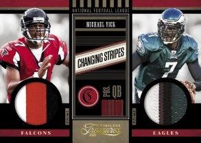 2011 Timeless Treasures Changing Stripes Michael Vick Dual Jersey Card
