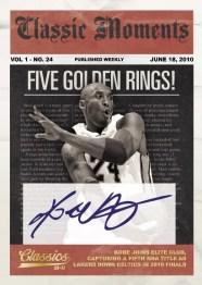 2010/11 Panini Classics Moments Kobe Bryant Five Golden Rings Autograph Card