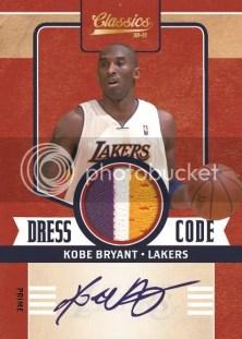 2010/11 Panini Classics Dress Code Kobe Bryant Prime Jersey Autograph Card