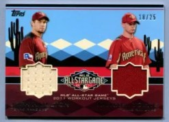 2011 Topps Update All-Star Dual Relic Card: Josh Hamilton - Michael Young