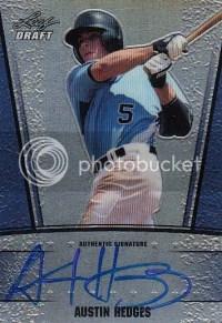 2011 Leaf Metal Draft Austin Hedges Blue Autograph