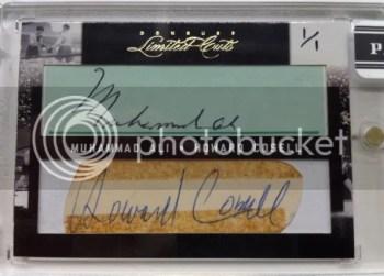 2011 Donruss Limited Cuts Howard Cosell Muhammad Ali Dual Cut Autograph Card