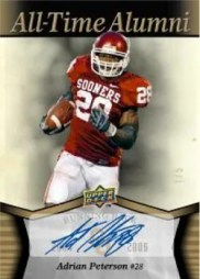 2011 Upper Deck Oklahoma All-Time Alumni Adrian Peterson Autograph Card
