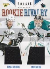 2011/12 Panini Rookie Anthology RC Rivalry Dual Jersey Card #33 Harri Sateri - Tomas Vincour