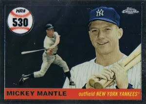 2008 Topps Chrome Mickey Mantle Home Run History Insert Card